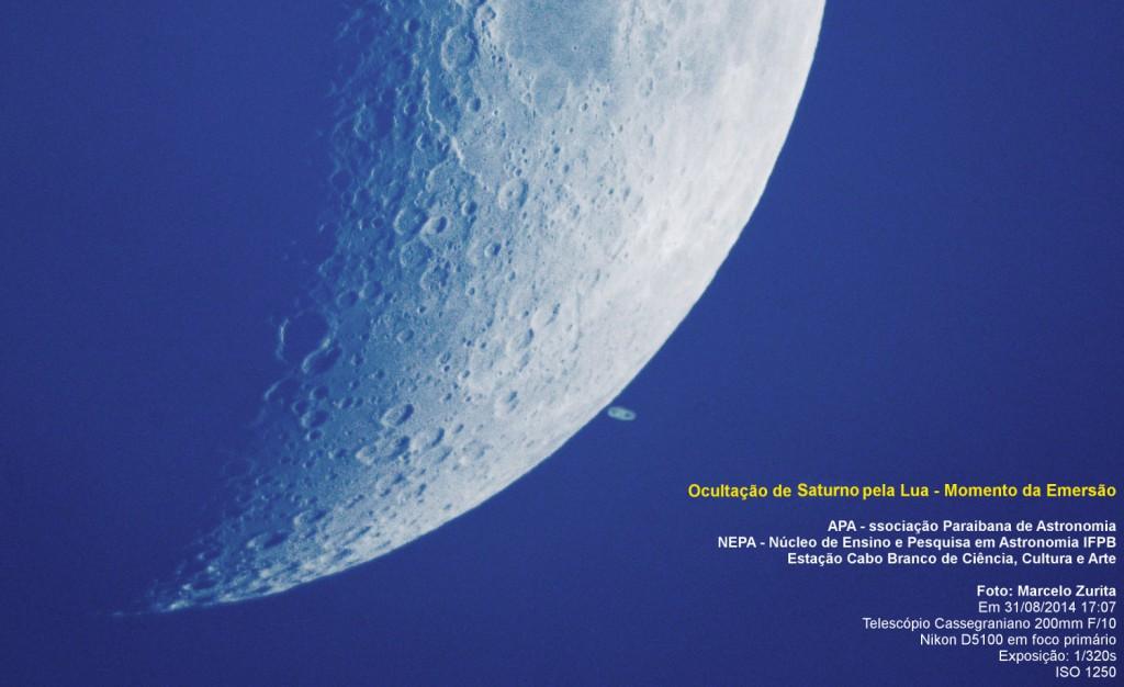 Ocultação de Saturno pela Lua - Momento da Emersão