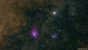 Nebulosas da Lagoa e Trífida com Saturno acima - Foto: Marcelo Zurita