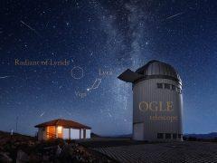 Meteoros daLíridasregistrados a partir do Observatório Las Campanas, no Chile - Créditos: Yuri Beletsky